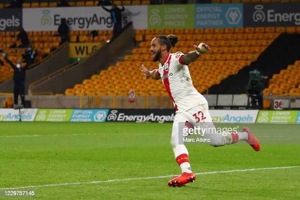 Theo Walcott of Southampton celebrates his goal during the Premier League match between Wolverhampton Wanderers and Southampton at Molineux on...