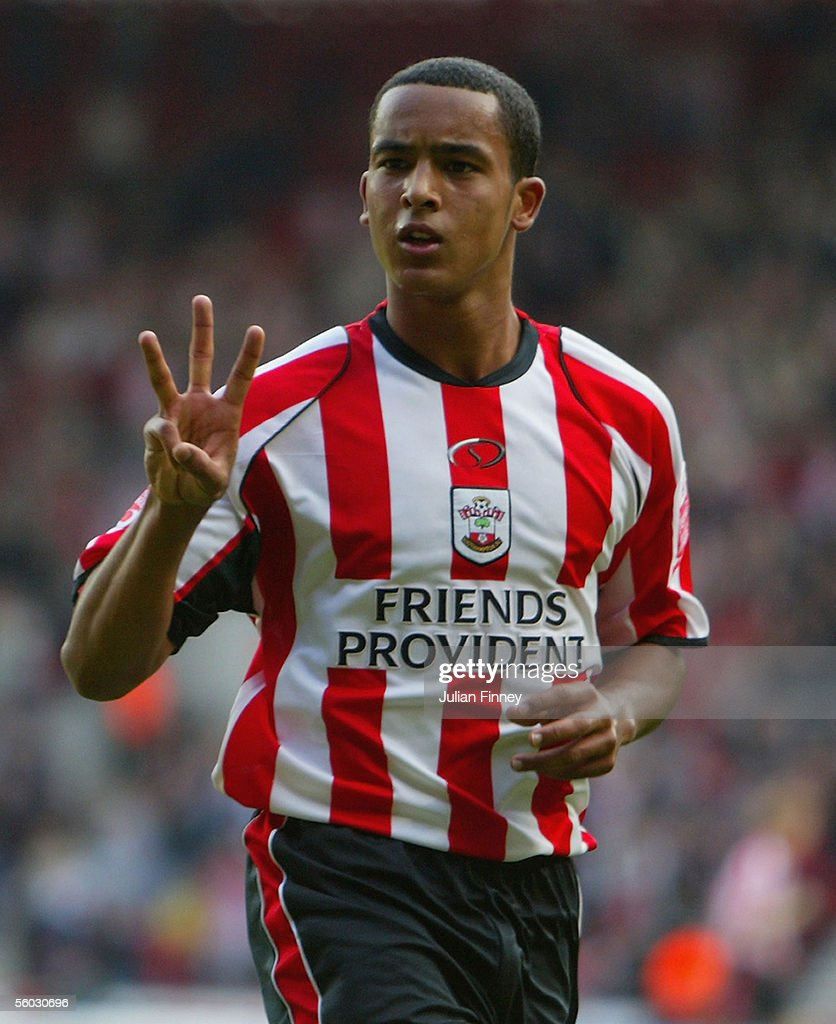 Theo Walcott of Southampton celebrates scoring a goal during the Coca-Cola Championship match between Southampton and Stoke City at St Mary's Stadium on October 29, 2005 in Southampton, England.