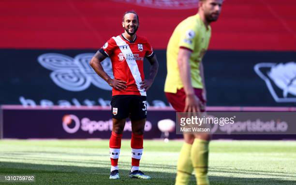 Theo Walcott of Southampton during the Premier League match between Southampton and Burnley at St Mary's Stadium on April 04, 2021 in Southampton,...