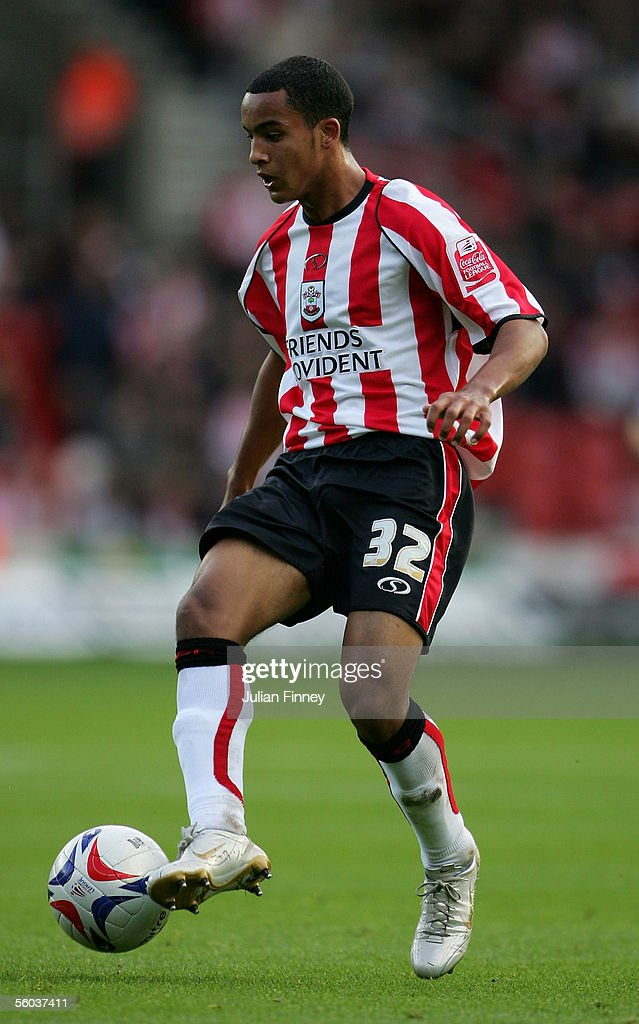 Theo Walcott of Southampton in action during the Coca-Cola Championship match between Southampton and Stoke City at St Mary's Stadium on October 29, 2005 in Southampton, England.