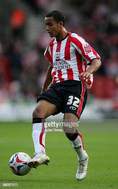 Theo Walcott of Southampton in action during the CocaCola Championship match between Southampton and Stoke City at St Mary's Stadium on October 29...