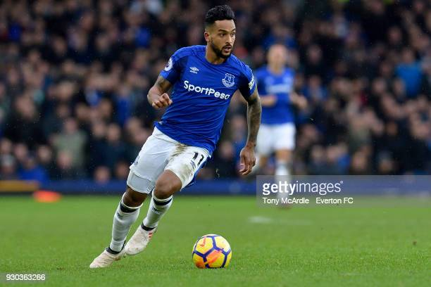 Theo Walcott on the ball during the Premier League match between Everton and Brighton and Hove Albion at Goodison Park on March 10 2018 in Liverpool...