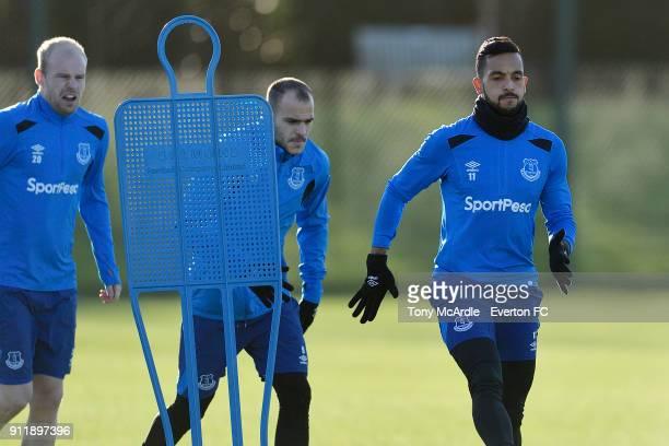 Theo Walcott Sandro Ramirez and Davy Klaassen during the Everton training session at USM Finch Farm on January 29 2018 in Halewood England