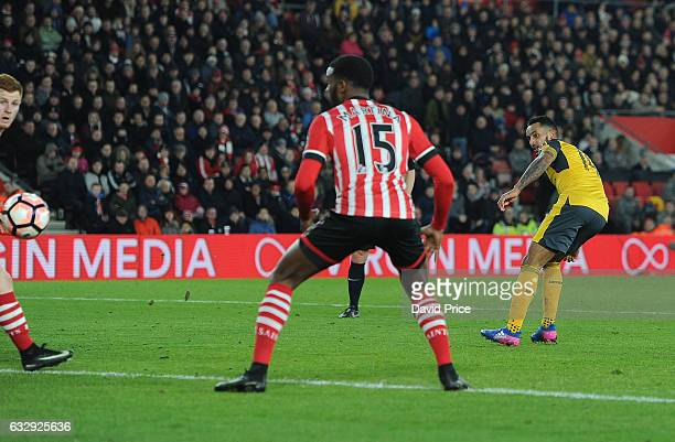 Theo Walcott scores his 2nd goal Arsenal's 4th during the match between Southampton and Arsenal at St Mary's Stadium on January 28 2017 in...