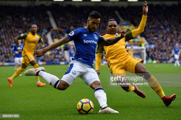 Theo Walcott with a chance on goal during the Premier League match between Everton and Brighton and Hove Albion at Goodison Park on March 10 2018 in...