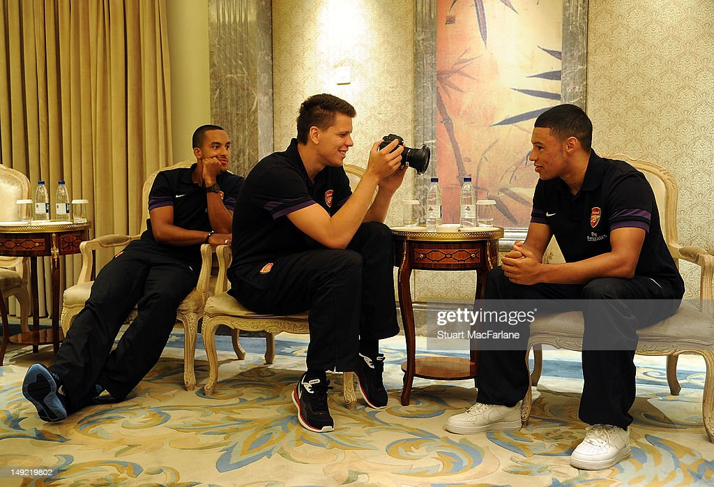 Theo Walcott, Wojciech Szczesny and Alex Oxlade-Chamberlain of Arsenal interview each other before a charity dinner in Beijing during their pre-season Asian Tour in China on July 25, 2012 in Beijing, China.