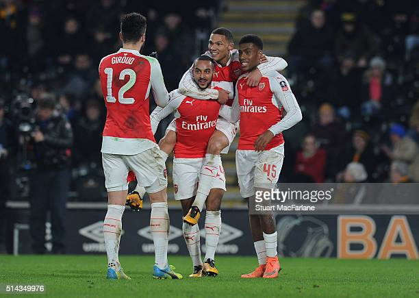 Theo Waloctt celebrates scoring the 3rd Arsenal goal with Olivier Giroud Kieran Gibbs and Alex Iwobi during the Emirates FA Cup 5th Round replay...