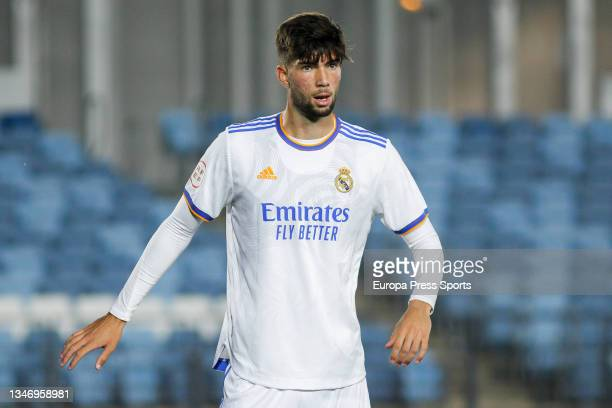 Theo Zidane of Real Madrid Castilla looks on during Primera RFEF Group 2 football match played between Real Madrid Castilla and FC Barcelona B at...