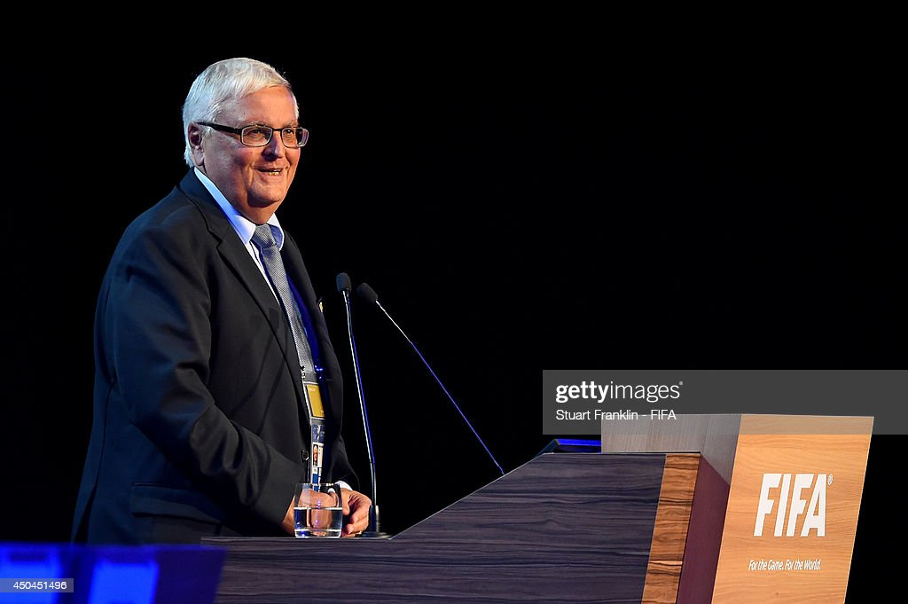 Theo Zwanziger, FIFA Executive Committee member talks during the 64th FIFA Congress at the Transamerica Expo Center on June 11, 2014 in Sao Paulo, Brazil.