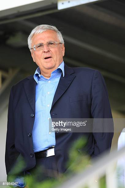 Theo Zwanziger, president of Germany Football Association, is seen during the Women's U19 European Championship match between Germany and Norway at...