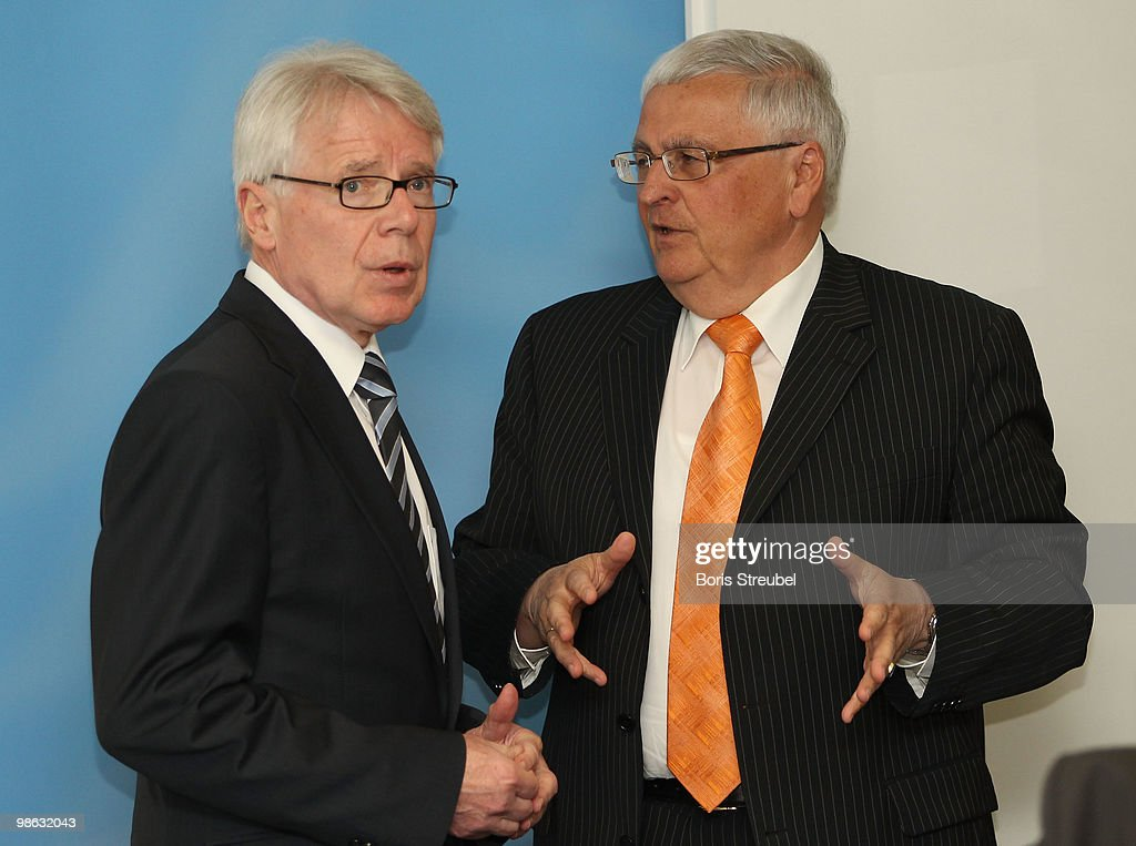Theo Zwanziger (R), president of the German football association (DFB) and Reinhard Rauball (L), president of the German Football League (DFL) attend the round table discussion on the subject of 'Gewalt im Zusammenhang mit Fussballspielen' (Violence in football) during the interior minister conference in the ministry of internal affairs on April 23, 2010 in Berlin, Germany.