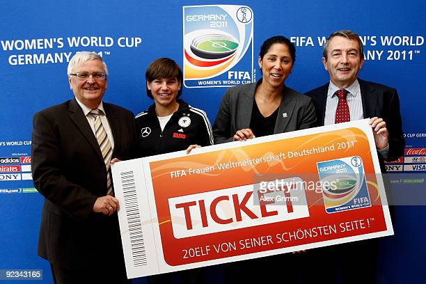 Theo Zwanziger president of the German Football Association DFB Ariane Hingst of the German national football team Steffi Jones president of the FIFA...