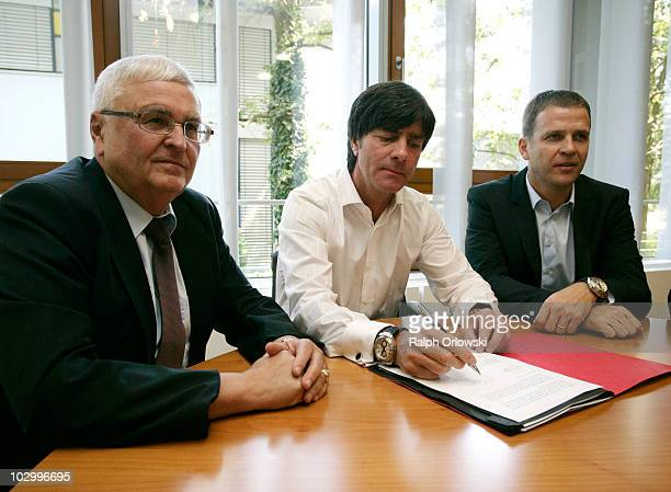 Theo Zwanziger, president of the German Football Association , German national coach Joachim Loew and German team manager Oliver Bierhoff attend the...