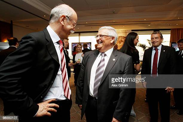 Theo Zwanziger president of the German football association welcomes Dieter Zetsche CEO of German car maker Mercedes Benz during a diner to celebrate...