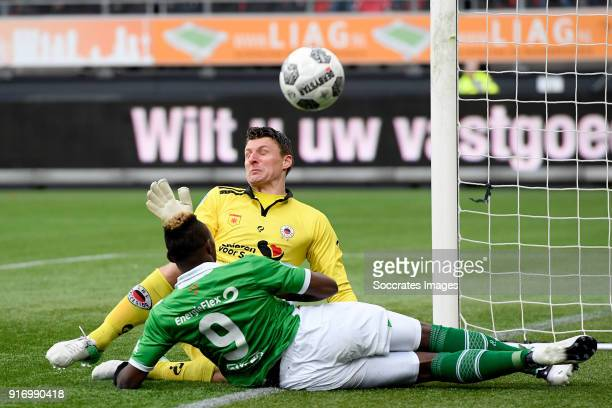 Theo Zwarthoed of Excelsior Thierry Ambrose of NAC Breda during the Dutch Eredivisie match between Excelsior v NAC Breda at the Van Donge De Roo...