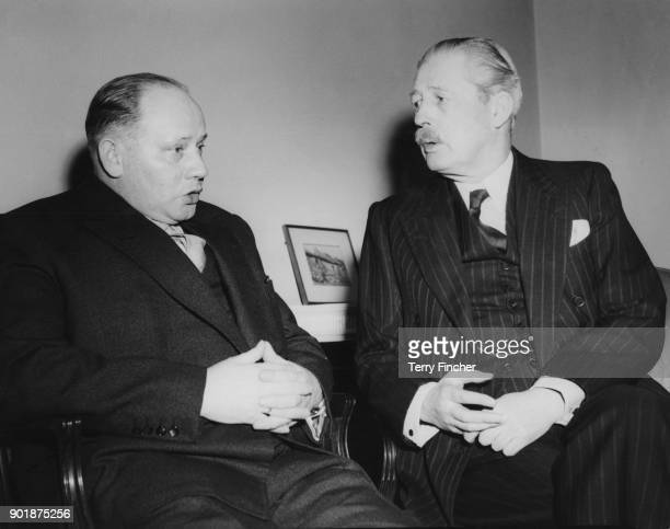 Theodor Blank the West German Defence Commissioner during talks with British Minister of Defence Harold Macmillan at the Ministry of Defence in...