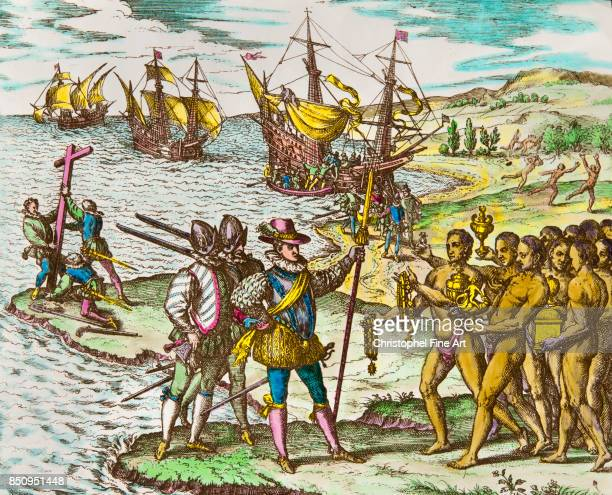 Theodor de Bry History of America Christopher Columbus Welcomed by the Natives 1492 Private Collection