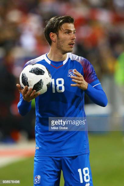 Theodor Elmar Bjarnason of Iceland in action against Peru during a International Friendly at Red Bull Arena on March 27 2018 in Harrison New Jersey
