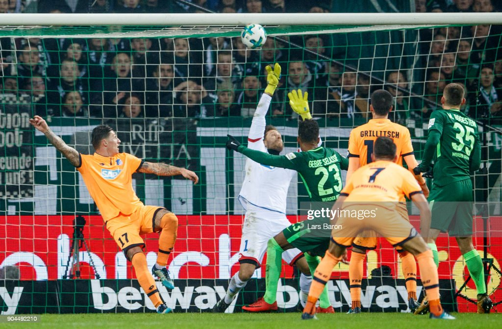 Theodor Gebre Selassie of Bremen scores his teams first goal during the Bundesliga match between SV Werder Bremen and TSG 1899 Hoffenheim at Weserstadion on January 13, 2018 in Bremen, Germany.