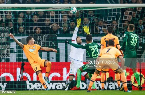 Theodor Gebre Selassie of Bremen scores his teams first goal during the Bundesliga match between SV Werder Bremen and TSG 1899 Hoffenheim at...