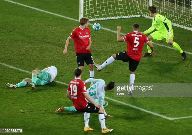 Theodor Gebre Selassie of SV Werder Bremen scores their sides first goal during the DFB Cup second round match between Hannover 96 and SV Werder...