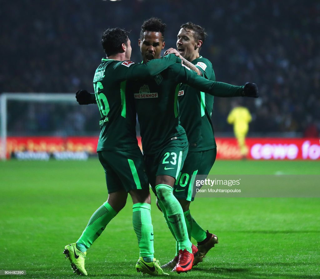 Theodor Gebre Selassie of Werder Bremen celebrates scoring his teams first goal of the game during the Bundesliga match between SV Werder Bremen and TSG 1899 Hoffenheim at Weserstadion on January 13, 2018 in Bremen, Germany.