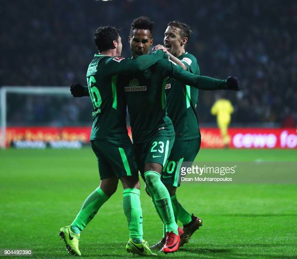 Theodor Gebre Selassie of Werder Bremen celebrates scoring his teams first goal of the game during the Bundesliga match between SV Werder Bremen and...