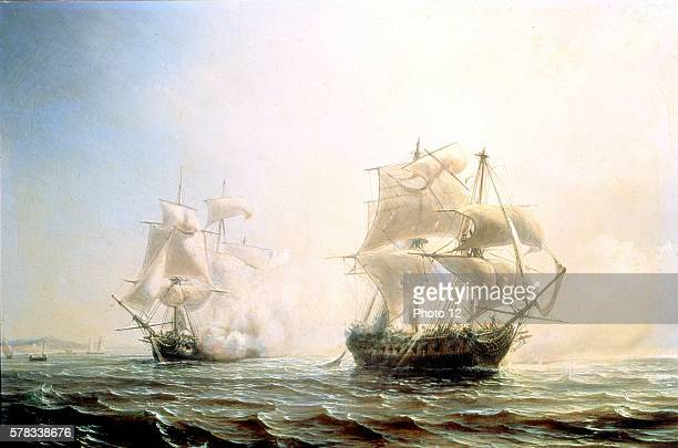 Theodor Gudin French school Naval battle the frigate l'Embuscade fighting against the English frigate Boston in the New York harbour July 30 1793...