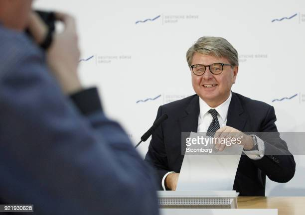 Theodor Weimer chief executive officer of Deutsche Boerse AG arrives for a news conference to announce the company's earnings at the Frankfurt Stock...