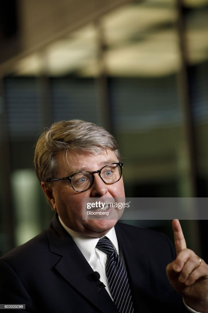 Theodor Weimer, chief executive officer of Deutsche Boerse AG, gestures while speaking during a Bloomberg Television interview following a news conference to announce the company's earnings at the Frankfurt Stock Exchange in Frankfurt, Germany, on Wednesday, Feb. 21, 2018. Deutsche Boerse will present a three-year plan at end of May, Weimer said. Photographer: Alex Kraus/Bloomberg via Getty Images