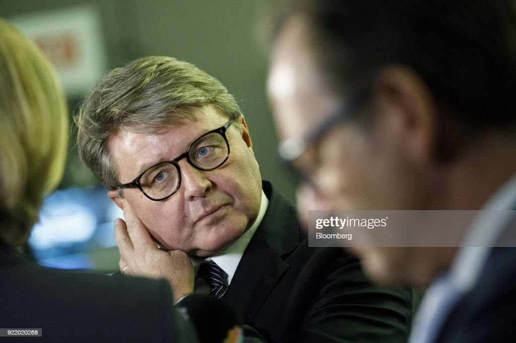 Theodor Weimer, chief executive officer of Deutsche Boerse AG, pauses during a Bloomberg Television interview following a news conference to announce the company's earnings at the Frankfurt Stock Exchange in Frankfurt, Germany, on Wednesday, Feb. 21, 2018. Deutsche Boerse will present a three-year plan at end of May, Weimer said. Photographer: Alex Kraus/Bloomberg via Getty Images