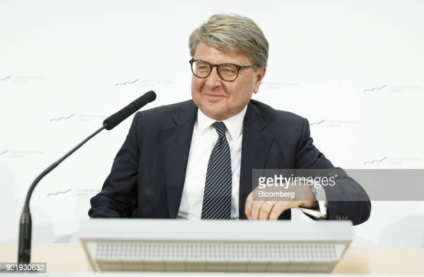 Theodor Weimer chief executive officer of Deutsche Boerse AG reacts during a news conference to announce the company's earnings at the Frankfurt...