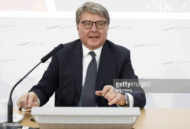 Theodor Weimer chief executive officer of Deutsche Boerse AG speaks during a news conference to announce the company's earnings at the Frankfurt...