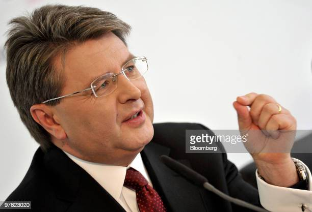 Theodor Weimer chief executive officer of Hypo Vereinsbank gestures while speaking at a news conference in Munich Germany on Thursday March 18 2010...