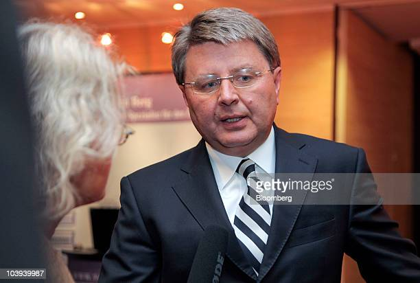 Theodor Weimer chief executive officer of UniCredit Bank AG speaks to a reporter at the Banks in Crisis conference in Frankfurt Germany on Thursday...