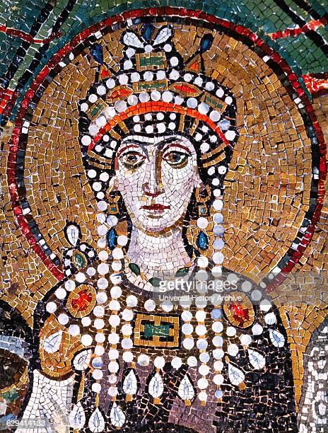 Theodora Byzantine Empress and Wife of Emperor Justinian I Detail of Byzantine Mosaic Basilica of San Vitale Ravenna Italy