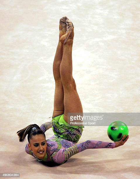 Theodora Pallidou of Greece performs in the individual allaround qualification round of the rhythmic gymnastics at the 2004 Olympic Games in Athens...