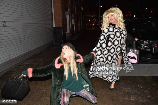 Theodora Richards and Lady Bunny attend The Cinema Society Bluemercury host the premiere of IFC Films' 'Freak Show' at Landmark Sunshine Cinema on...