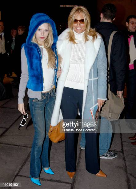 Theodora Richards and Patti Hansen during Olympus Fashion Week Fall 2004 Seen at Bryant Park Day 6 at Bryant Park in New York City New York United...