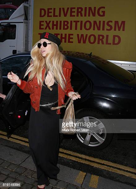 Theodora Richards attending The Rolling Stones 'Exhibitionism' private view at the Saatchi Gallery on April 4 2016 in London England