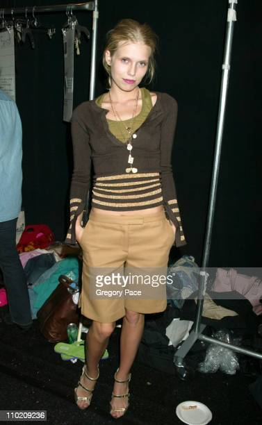 Theodora Richards during Olympus Fashion Week Spring 2005 Tuleh Backstage and Front Row at Plaza Tent Bryant Park in New York City New York United...
