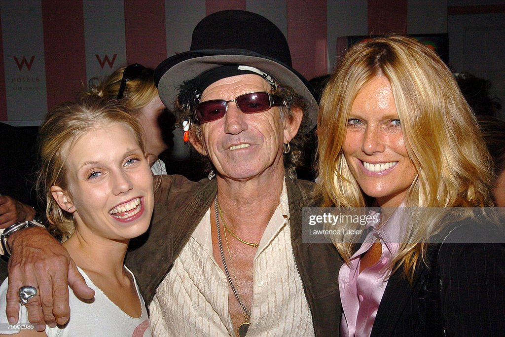 Theodora Richards, Keith Richards, Patti Hansen at the Olympus Fashion Week Spring 2005 - Luca Luca - Front Row and Backstage at Theater Tent, Bryant Park in New York City, New York.