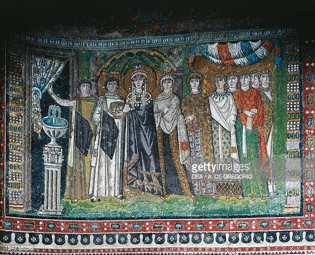 Theodora with her entourage mosaic south wall of the apse Basilica of San Vitale Ravenna EmiliaRomagna Italy 6th century