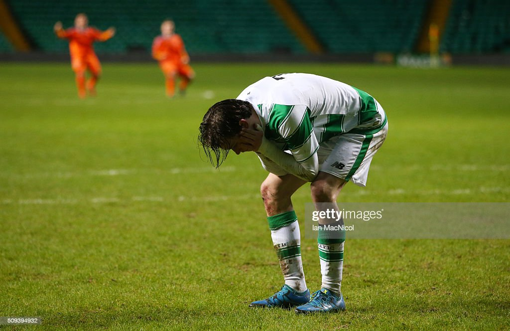 Theodore Archibald of Celtic reacts after missing during the penalty shoot out during the UEFA Youth Champions League match between Celtic and Valencia at Celtic Park on February 10, 2016 in Glasgow, Scotland.