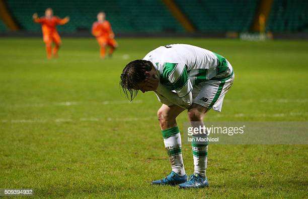 Theodore Archibald of Celtic reacts after missing during the penalty shoot out during the UEFA Youth Champions League match between Celtic and...