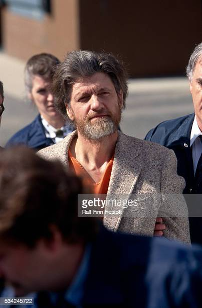 Theodore Kaczynski the man known as the Unibomber is brought to the courthouse for arraignment after his arrest after a yearslong FBI manhunt