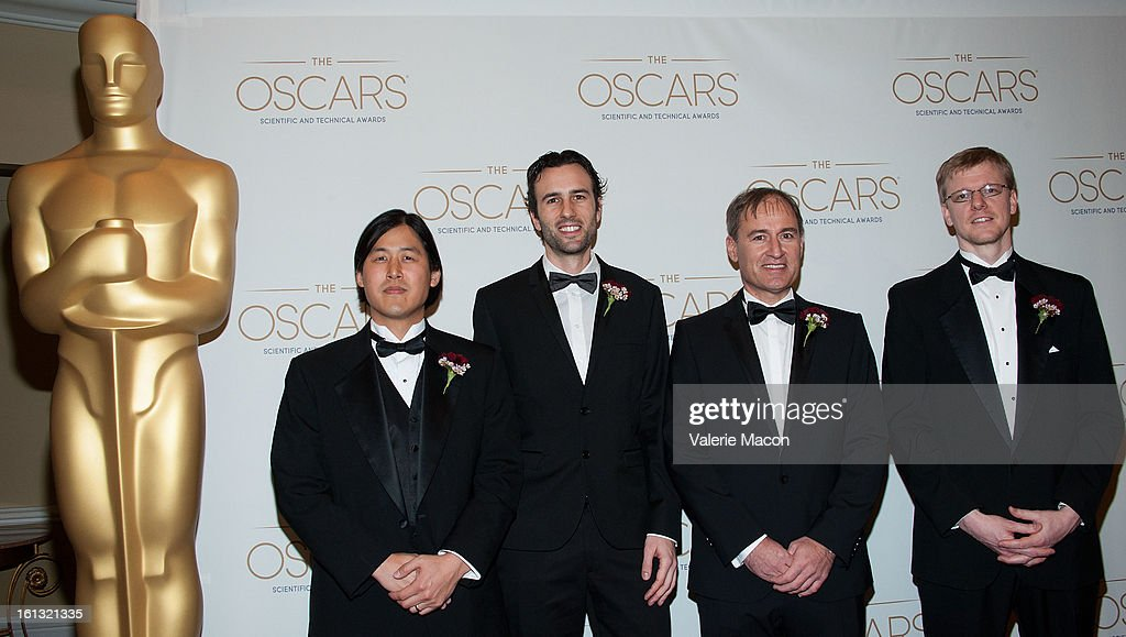 Theodore Kim, Nils Thuerey, Dr Markus Gross and Doug James arrives at the Academy Of Motion Picture Arts And Sciences' Scientific & Technical Awards at Beverly Hills Hotel on February 9, 2013 in Beverly Hills, California.