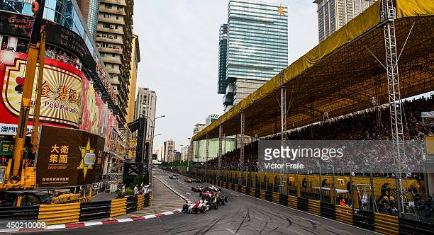 Theodore Racing by Prema driver Alex Lynn of Great Britain leads the pack to win the Formula 3 event as part of the 60th Macau Grand Prix on November...