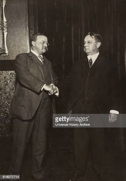 Theodore Roosevelt and Hiram Johnson fulllength Portrait Shaking Hands after being nominated as Presidential and Vice Presidential Candidates for the...