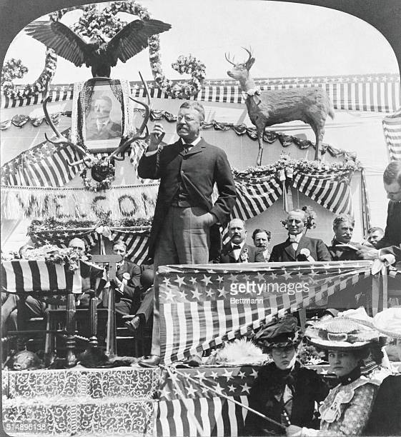 Theodore Roosevelt during election speech in New Castle Wyoming